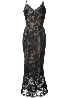 Marchesa Notte guipure lace slip dress - Black