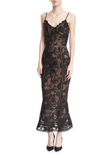 Marchesa Notte Guipure Lace Tea-Length Trumpet Cocktail Dress