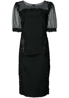 Marchesa Notte guipure lace-trimmed dress - Black