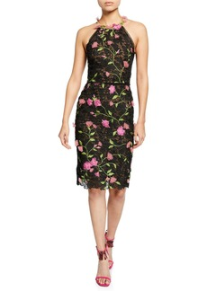 Marchesa Notte Halter Floral-Embroidered Guipure Lace Dress w/ Cutout Back & 3D Flowers