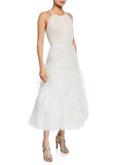 Marchesa Notte Halter-Neck Textured Tulle Draped Bodice Tea-Length Gown