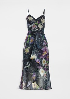 Marchesa Notte High Low Midi Dress with Cascading Ruffle