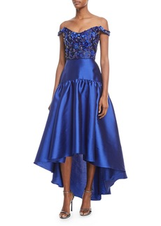 Marchesa Notte High-Low Mikado Gown w/ Bead Embroidered Bodice