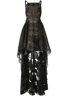 Marchesa Notte high-low rose lace dress - Black
