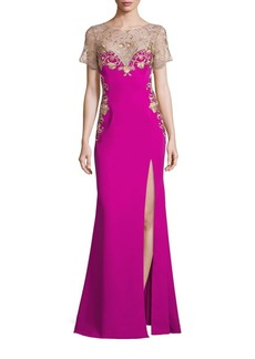 Marchesa Notte High Slit Embroidered Gown