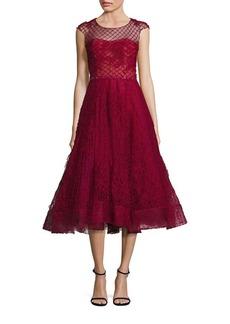Marchesa Notte Honeycomb Cap Sleeve A-Line Dress