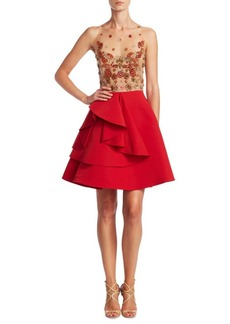 Marchesa Notte Illusion A-Line Dress