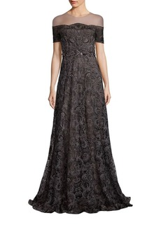 Marchesa Notte Illusion Off-the-Shoulder Embroidered Gown