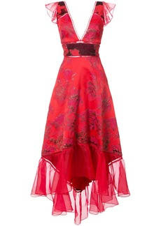 Marchesa Notte jacquard asymmetric gown - Red