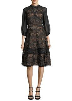 Marchesa Notte Lace Chiffon-Sleeve Cocktail Dress