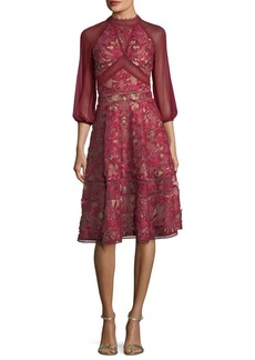 Marchesa Notte Lace Chiffon-Sleeve Cocktail Dress