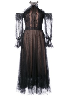 Marchesa Notte lace cold shoulder dress - Black