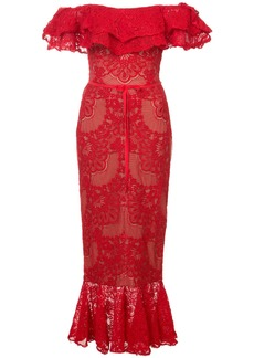 Marchesa Notte lace-embroidered midi dress
