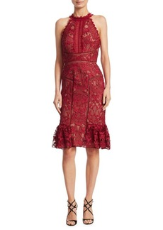 Marchesa Notte Lace Knee-Length Dress