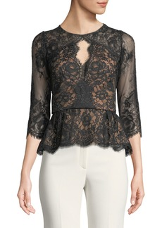 Marchesa Notte Lace Peplum Top w/ Three-Quarter Sleeves