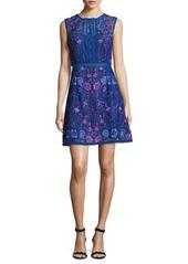 Marchesa Notte Lace Sleeveless Dress