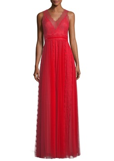 Marchesa Notte Lace Trim Sleeveless V-Neck Evening Gown
