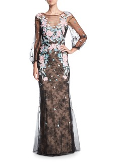Marchesa Notte Lace Tulle Long-Sleeve Evening Gown w/ Floral Embroidery