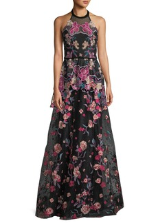 Marchesa Laser-Cut Embroidered Halter Gown