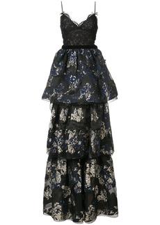 Marchesa layered skirt evening dress