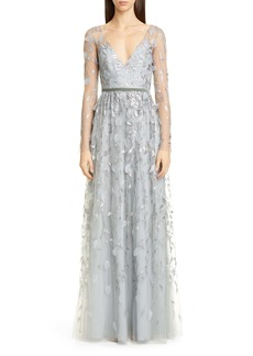 Marchesa Notte Leaf Embroidered Long Sleeve Tulle Gown