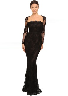 Marchesa Notte Long Sleeve Lace Gown with Illusion Neckline