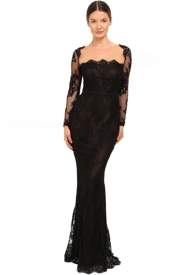 Marchesa Marchesa Notte Long Sleeve Lace Gown with Illusion Neckline ...