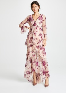 Marchesa Notte Long Sleeve V Neck Flocked Lace Gown