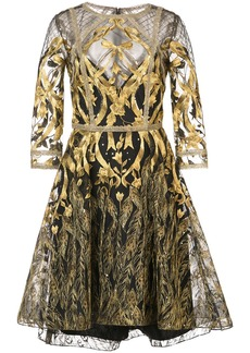 Marchesa Notte mesh overlay metallic embroidered dress - Black