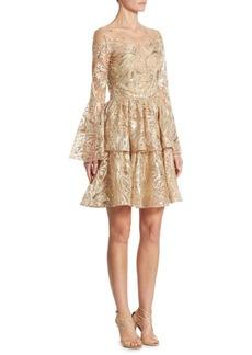 Marchesa Notte Metallic Embroidered Bell Sleeve Dress