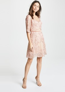 Marchesa Notte Metallic Embroidered Cocktail Dress