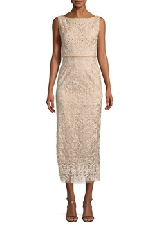 Marchesa Notte Metallic Embroidered Cocktail Dress w/ Pearly Beads