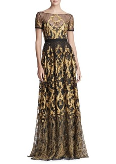 Marchesa Notte Metallic Embroidered Gown