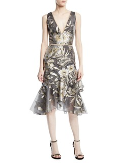 Marchesa Metallic Fil Coupé Asymmetric Ruffle Cocktail Dress