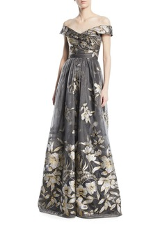 Marchesa Metallic Fil Coupé Off-the-Shoulder Gown