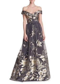 Marchesa Notte Metallic Fil Coupé Off-the-Shoulder Gown