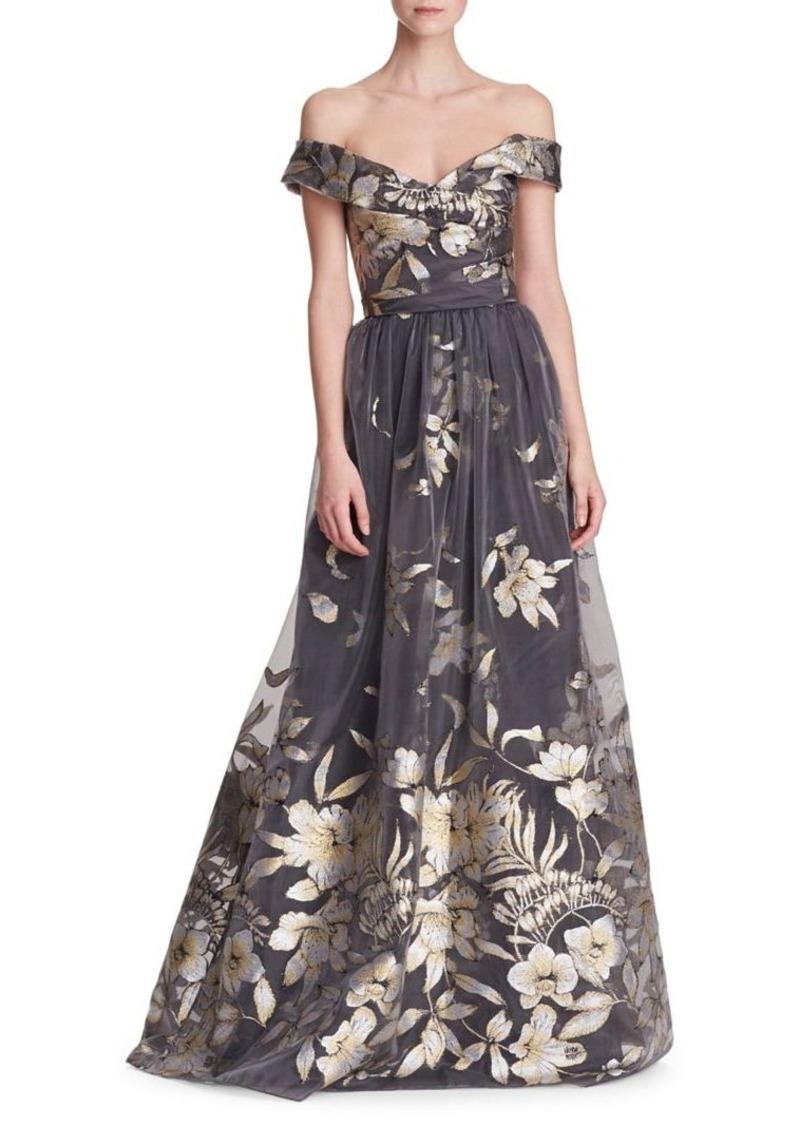 2bdd906f Marchesa Marchesa Notte Metallic Fil Coupé Off-the-Shoulder Gown ...