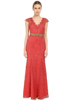 Marchesa Notte Metallic Lace Gown w/ Beaded Belt