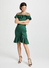 78eaa3dce9d99 ... Marchesa Notte Neoprene Cocktail Dress with Poin d'Esprit Yoke & Ruffles