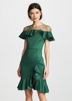 Marchesa Notte Neoprene Cocktail Dress with Poin d'Esprit Yoke & Ruffles
