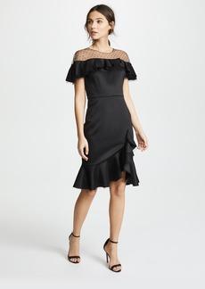 Marchesa Notte Neoprene Cocktail Dress with Point d'Esprit Yoke & Ruffles