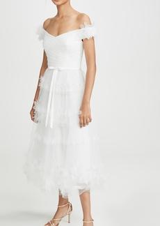 Marchesa Notte Off Shoulder 3D Floral Stripe Tulle Tea Length Gown