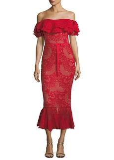 Marchesa Notte Off-Shoulder Flared Lace Cocktail Midi Dress