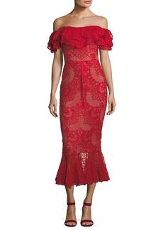 Marchesa Notte Off-Shoulder Flared Lace Cocktail Midi Dress