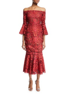 Marchesa Notte Off-Shoulder Lace Bell-Sleeve Midi Cocktail Dress