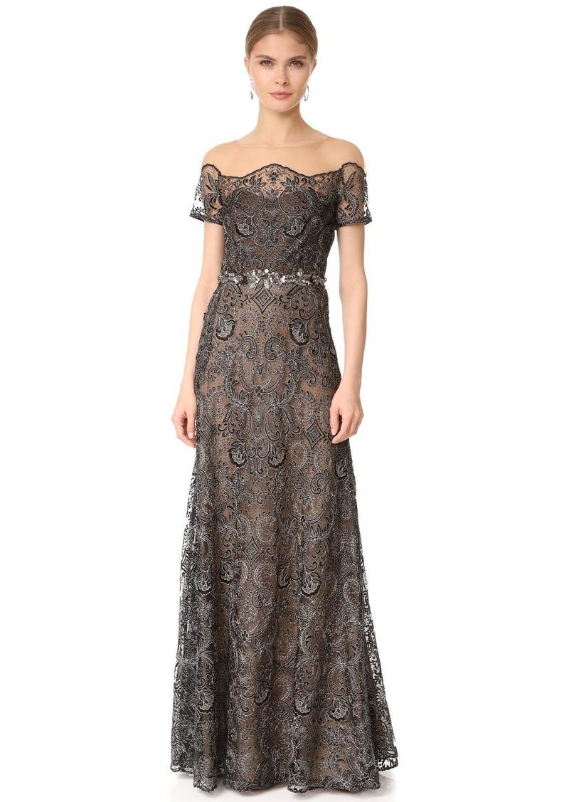 Marchesa Marchesa Notte Off Shoulder Lace Gown   Dresses
