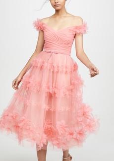 Marchesa Notte Off Shoulder Tea Length Gown