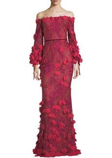 Marchesa Notte Off-the-Shoulder 3D Floral Mermaid Evening Gown