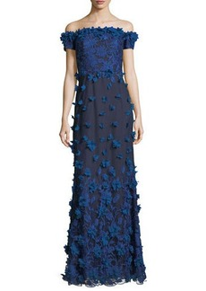 Marchesa Notte Off-the-Shoulder Column Evening Gown w/ 3D Petals