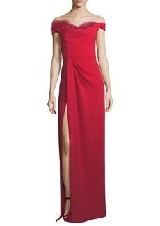 Marchesa Off-the-Shoulder Crepe High-Slit Gown